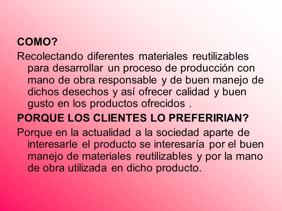 COMO? Recolectando diferentes materiales reutilizables para desarrollar un proceso de producción con mano de obra responsable y de buen manejo de dich