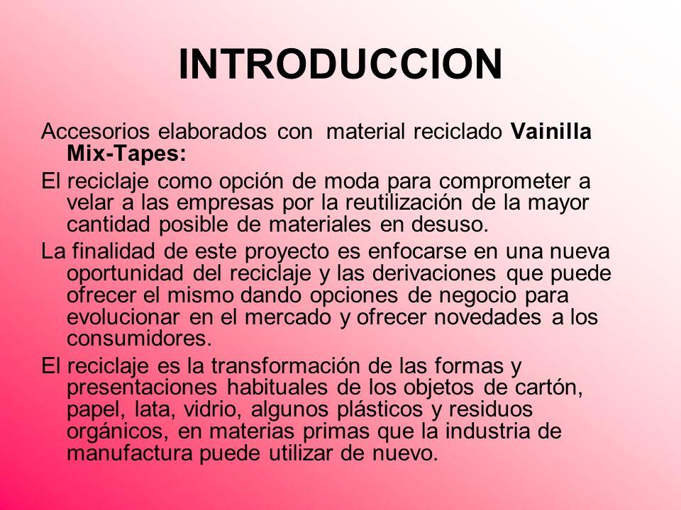 INTRODUCCION Accesorios elaborados con material reciclado Vainilla Mix-Tapes: El reciclaje como opción de moda para comprometer a velar a las empresas
