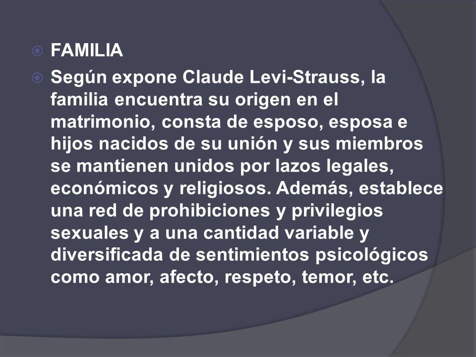 FAMILIA Según expone Claude Levi-Strauss, la familia encuentra su origen en el matrimonio, consta de esposo, esposa e hijos nacidos de su unión y sus