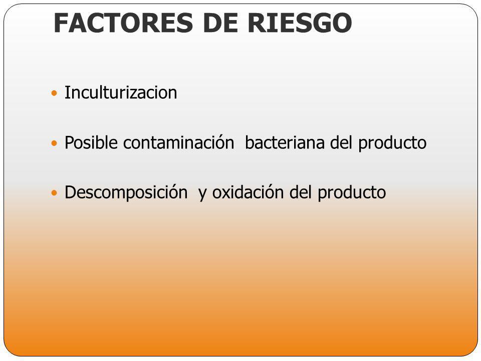 FACTORES DE RIESGO Inculturizacion Posible contaminación bacteriana del producto Descomposición y oxidación del producto