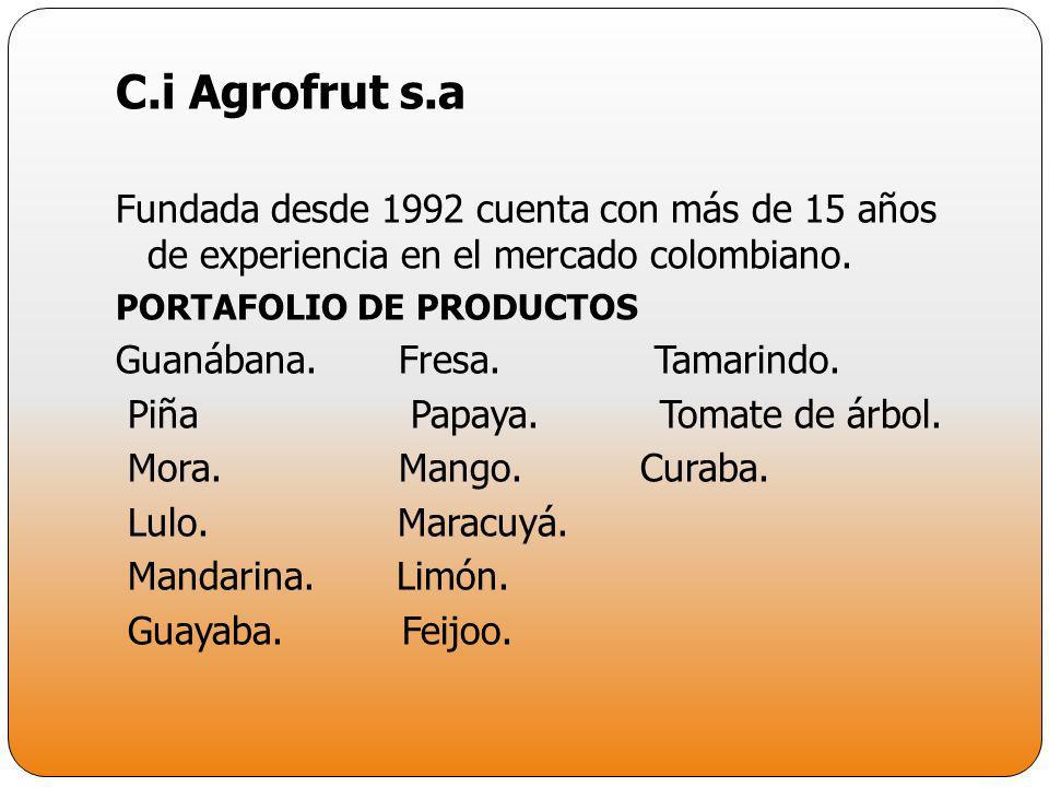 C.i Agrofrut s.a Fundada desde 1992 cuenta con más de 15 años de experiencia en el mercado colombiano. PORTAFOLIO DE PRODUCTOS Guanábana. Fresa. Tamar
