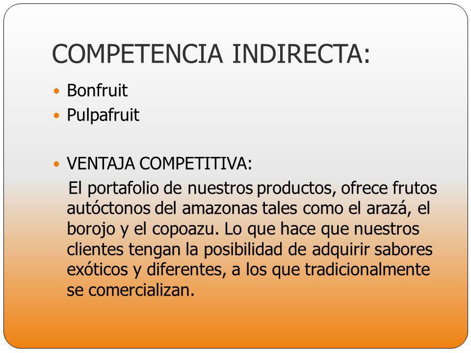 COMPETENCIA INDIRECTA: Bonfruit Pulpafruit VENTAJA COMPETITIVA: El portafolio de nuestros productos, ofrece frutos autóctonos del amazonas tales como