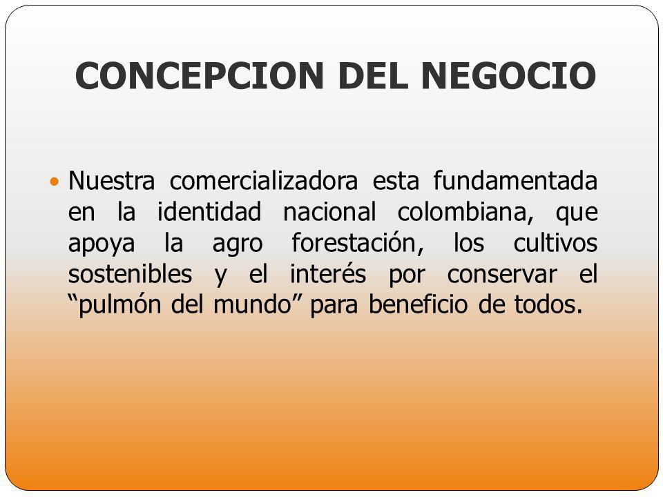 CONCEPCION DEL NEGOCIO Nuestra comercializadora esta fundamentada en la identidad nacional colombiana, que apoya la agro forestación, los cultivos sos