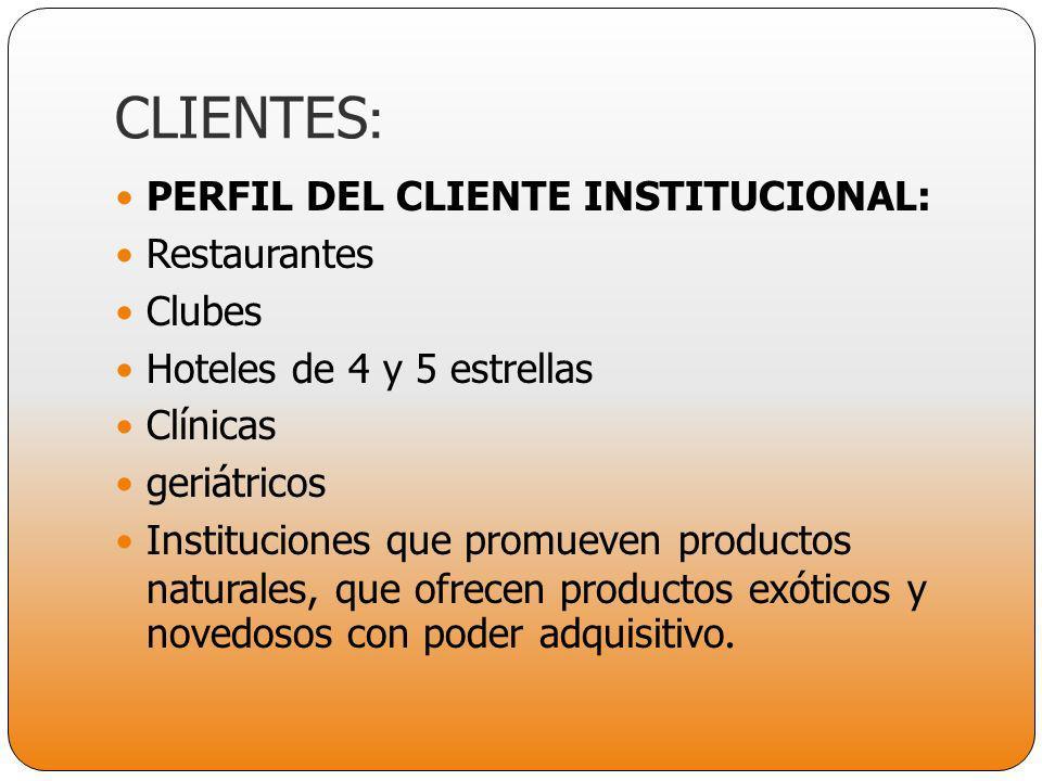 PERFIL DEL CLIENTE INSTITUCIONAL: Restaurantes Clubes Hoteles de 4 y 5 estrellas Clínicas geriátricos Instituciones que promueven productos naturales,