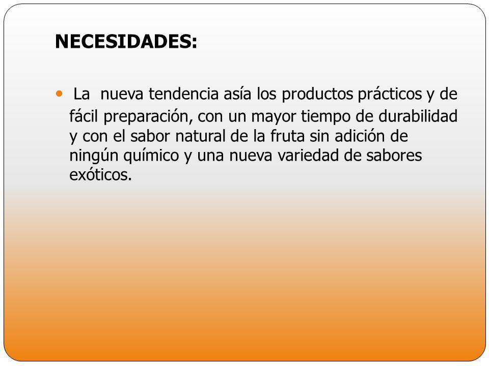 NECESIDADES: La nueva tendencia asía los productos prácticos y de fácil preparación, con un mayor tiempo de durabilidad y con el sabor natural de la f
