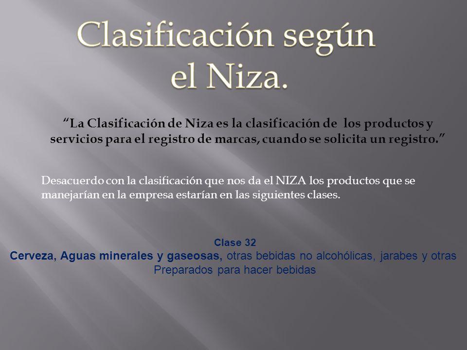 La Clasificación de Niza es la clasificación de los productos y servicios para el registro de marcas, cuando se solicita un registro. Desacuerdo con l