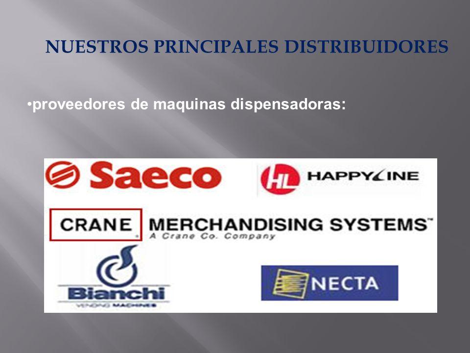 NUESTROS PRINCIPALES DISTRIBUIDORES proveedores de maquinas dispensadoras: