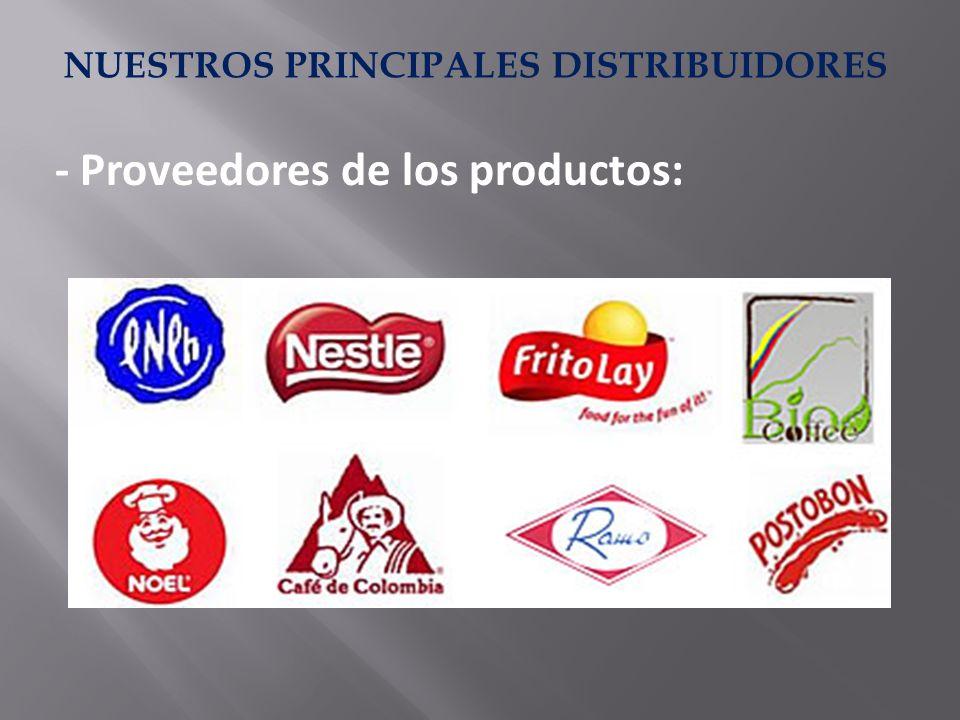 NUESTROS PRINCIPALES DISTRIBUIDORES - Proveedores de los productos: