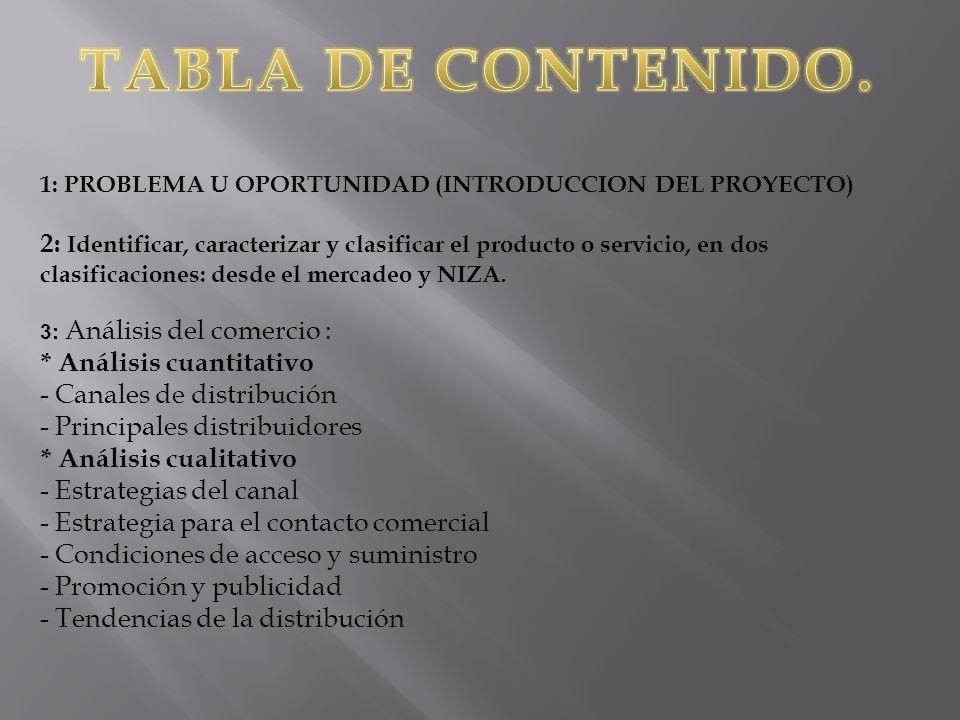 1: PROBLEMA U OPORTUNIDAD (INTRODUCCION DEL PROYECTO) 2: Identificar, caracterizar y clasificar el producto o servicio, en dos clasificaciones: desde