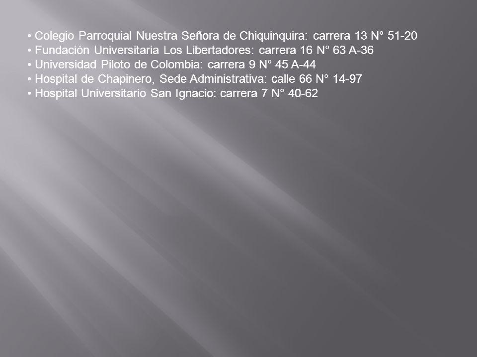Colegio Parroquial Nuestra Señora de Chiquinquira: carrera 13 N° 51-20 Fundación Universitaria Los Libertadores: carrera 16 N° 63 A-36 Universidad Pil