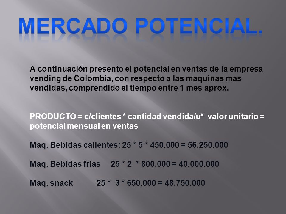 A continuación presento el potencial en ventas de la empresa vending de Colombia, con respecto a las maquinas mas vendidas, comprendido el tiempo entr