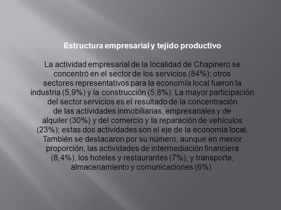 Estructura empresarial y tejido productivo La actividad empresarial de la localidad de Chapinero se concentró en el sector de los servicios (84%); otr