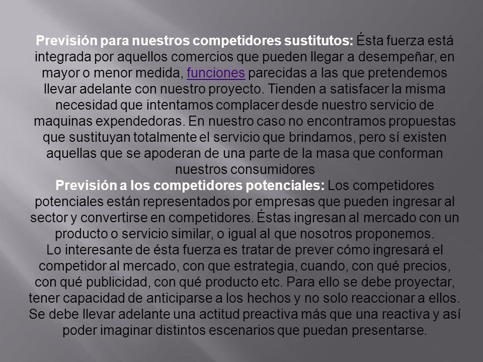 Previsión para nuestros competidores sustitutos: Ésta fuerza está integrada por aquellos comercios que pueden llegar a desempeñar, en mayor o menor me