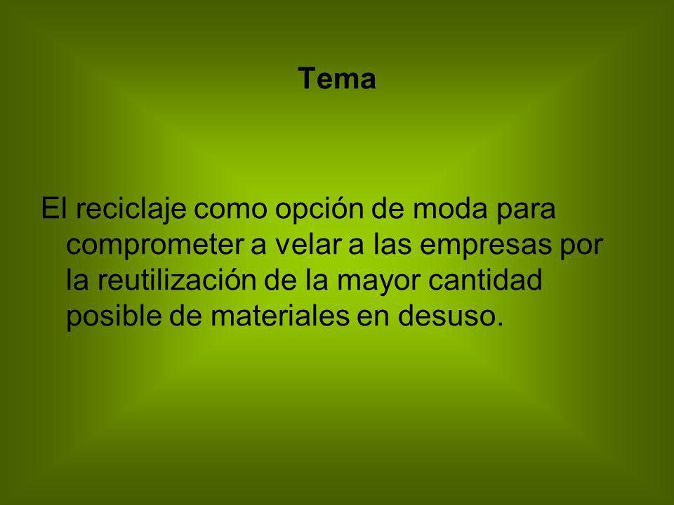 Tema El reciclaje como opción de moda para comprometer a velar a las empresas por la reutilización de la mayor cantidad posible de materiales en desus