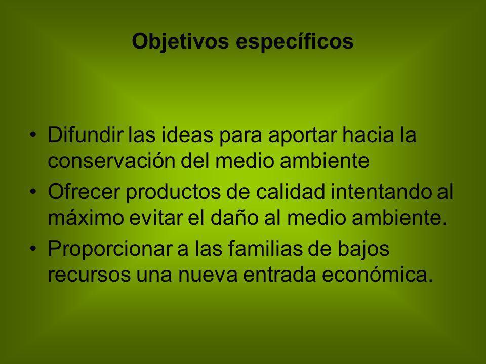 Objetivos específicos Difundir las ideas para aportar hacia la conservación del medio ambiente Ofrecer productos de calidad intentando al máximo evita