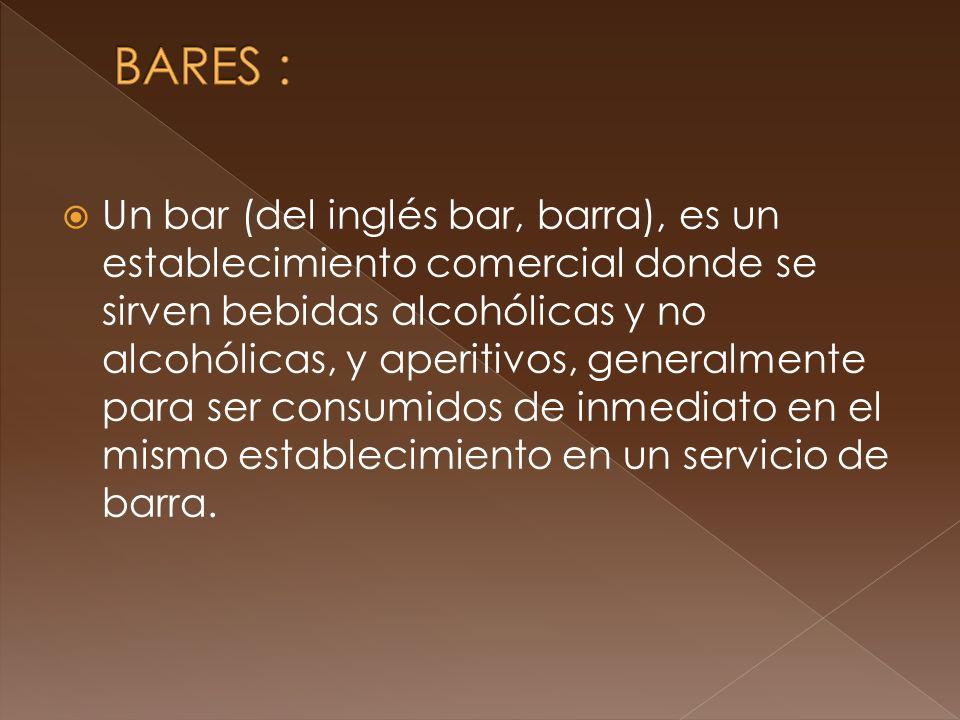 Un bar (del inglés bar, barra), es un establecimiento comercial donde se sirven bebidas alcohólicas y no alcohólicas, y aperitivos, generalmente para