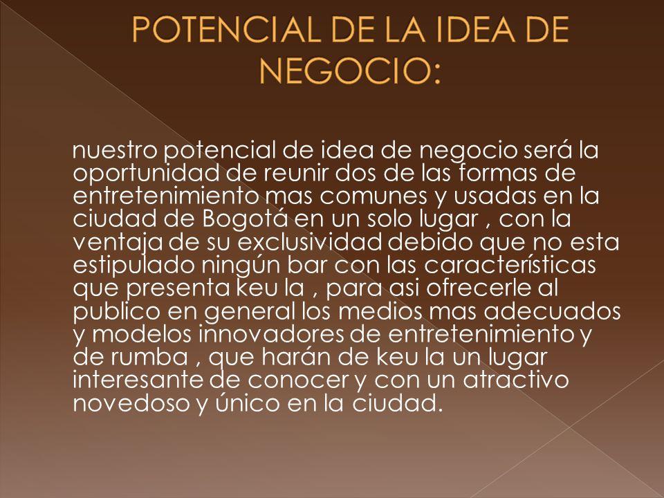 nuestro potencial de idea de negocio será la oportunidad de reunir dos de las formas de entretenimiento mas comunes y usadas en la ciudad de Bogotá en