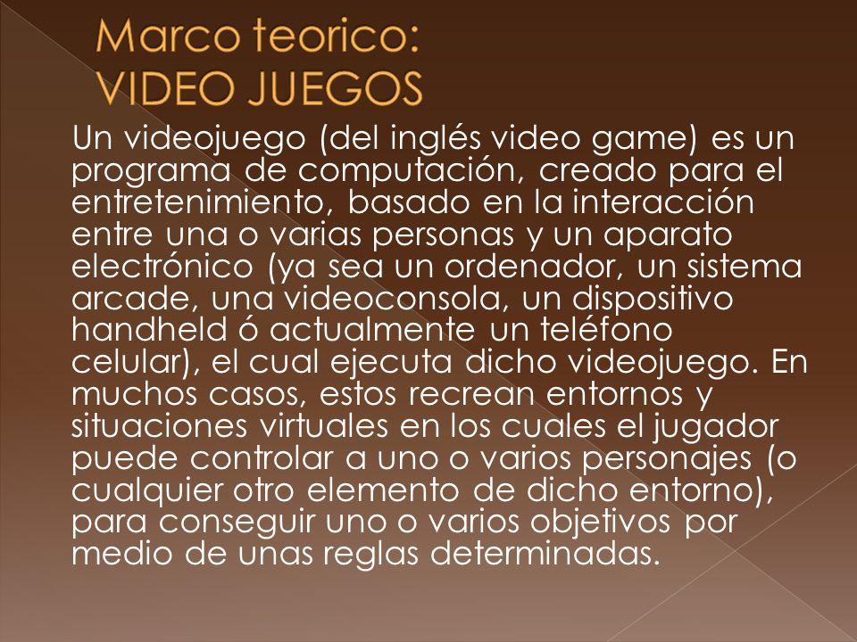 Un videojuego (del inglés video game) es un programa de computación, creado para el entretenimiento, basado en la interacción entre una o varias perso