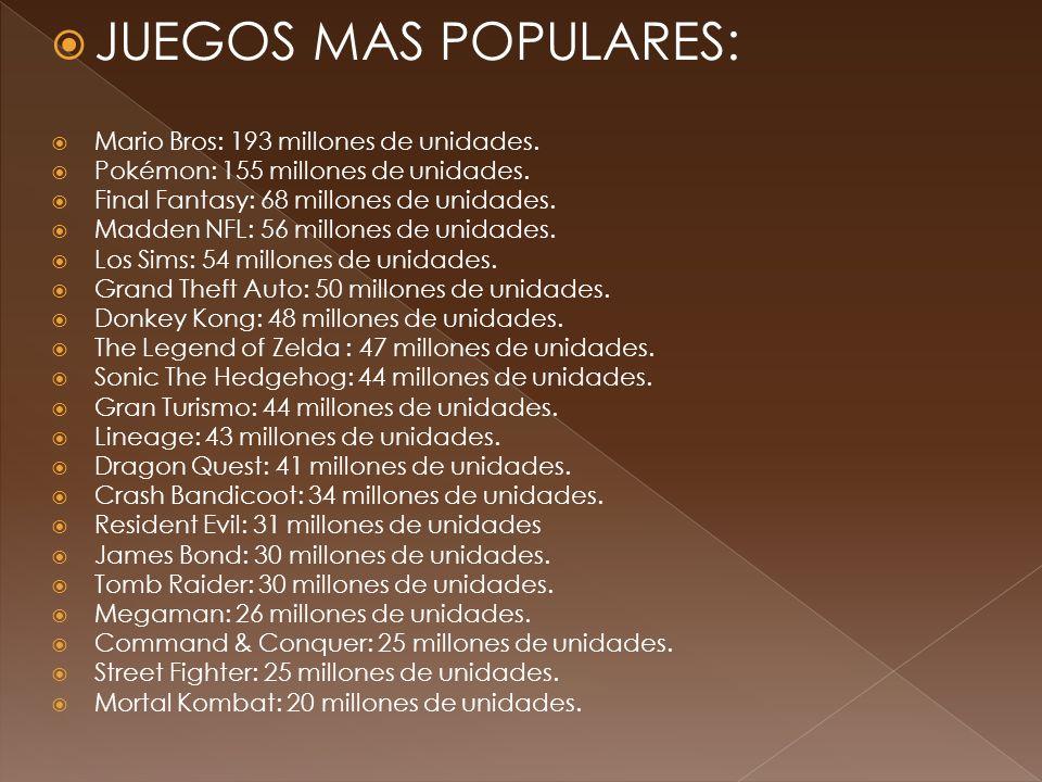 JUEGOS MAS POPULARES: Mario Bros: 193 millones de unidades. Pokémon: 155 millones de unidades. Final Fantasy: 68 millones de unidades. Madden NFL: 56