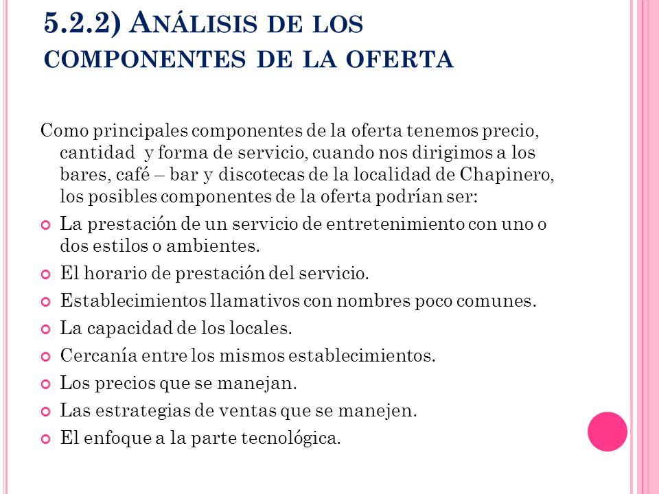 5.2.2) A NÁLISIS DE LOS COMPONENTES DE LA OFERTA Como principales componentes de la oferta tenemos precio, cantidad y forma de servicio, cuando nos di