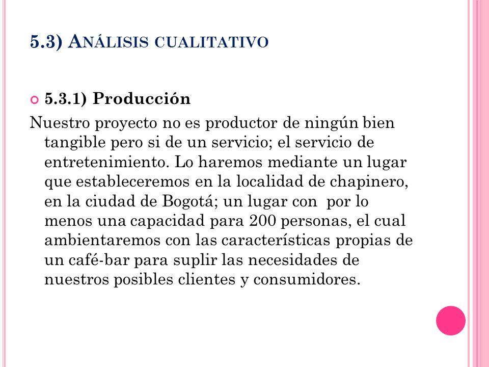 5.3) A NÁLISIS CUALITATIVO 5.3.1) Producción Nuestro proyecto no es productor de ningún bien tangible pero si de un servicio; el servicio de entreteni