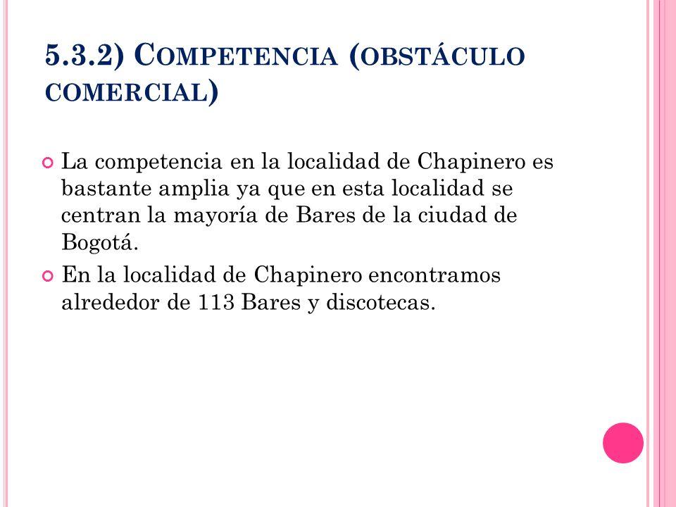 5.3.2) C OMPETENCIA ( OBSTÁCULO COMERCIAL ) La competencia en la localidad de Chapinero es bastante amplia ya que en esta localidad se centran la mayo