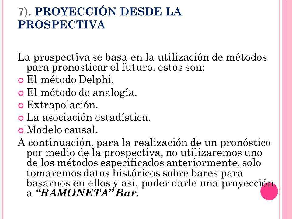 7). PROYECCIÓN DESDE LA PROSPECTIVA La prospectiva se basa en la utilización de métodos para pronosticar el futuro, estos son: El método Delphi. El mé