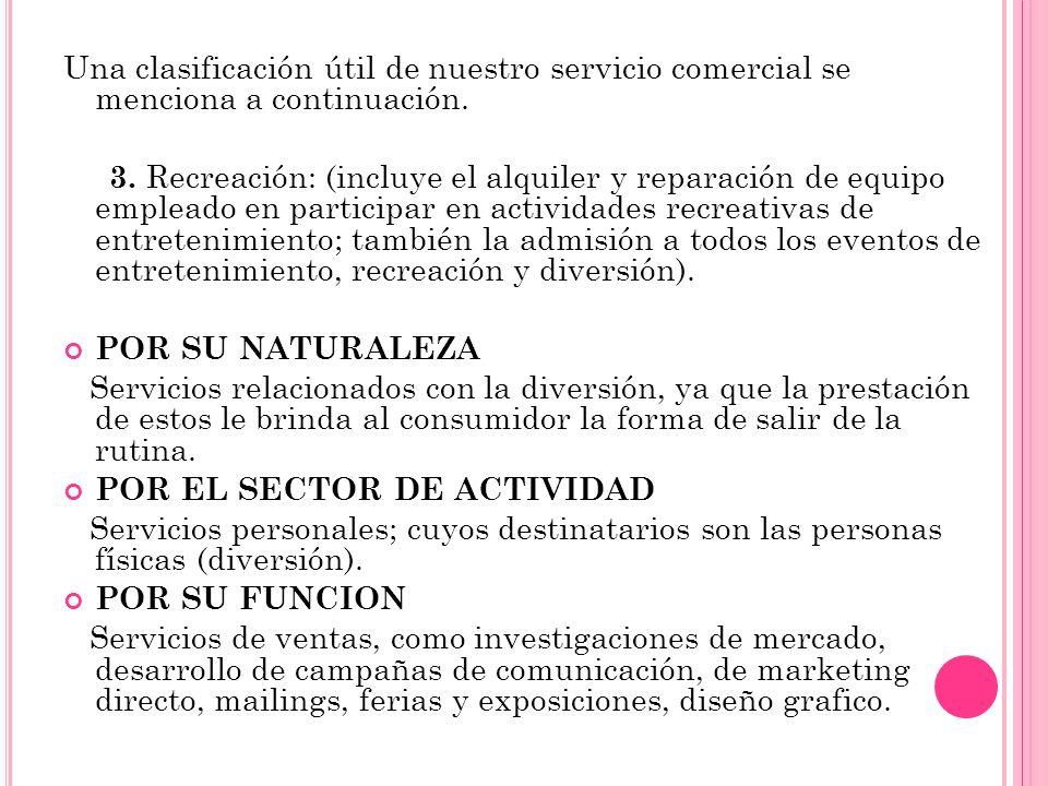 Una clasificación útil de nuestro servicio comercial se menciona a continuación. 3. Recreación: (incluye el alquiler y reparación de equipo empleado e