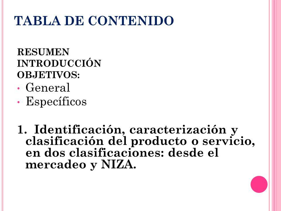 TABLA DE CONTENIDO RESUMEN INTRODUCCIÓN OBJETIVOS: General Específicos 1. Identificación, caracterización y clasificación del producto o servicio, en