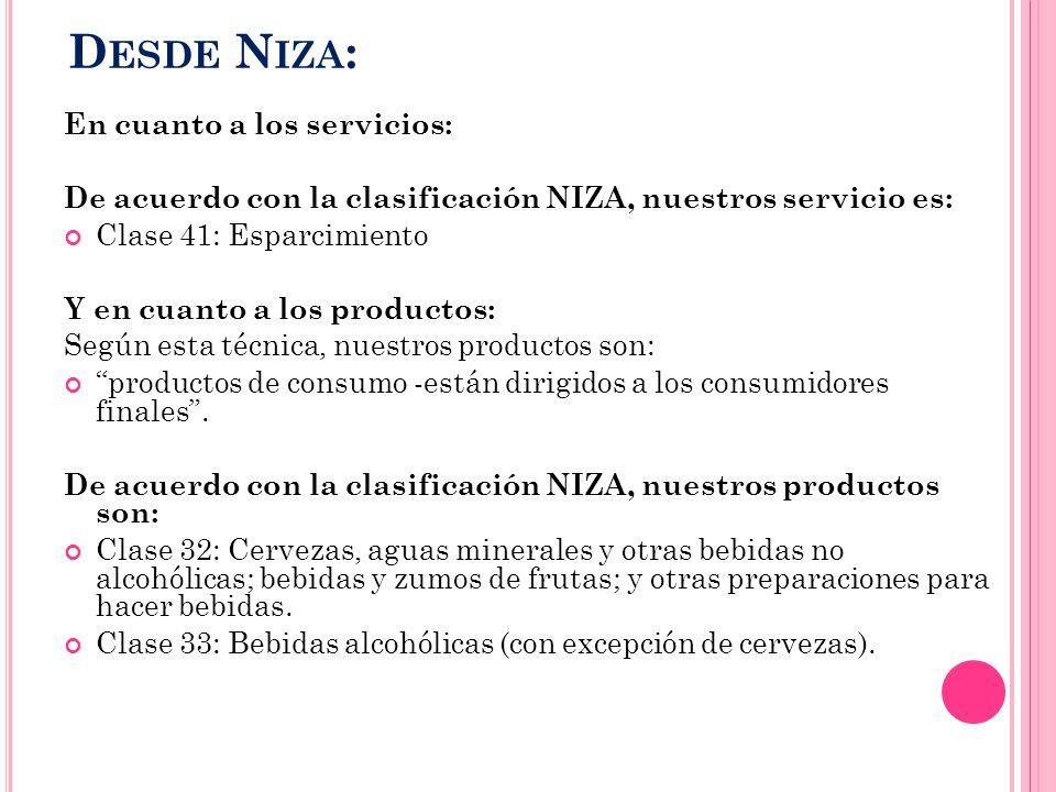 D ESDE N IZA : En cuanto a los servicios: De acuerdo con la clasificación NIZA, nuestros servicio es: Clase 41: Esparcimiento Y en cuanto a los produc