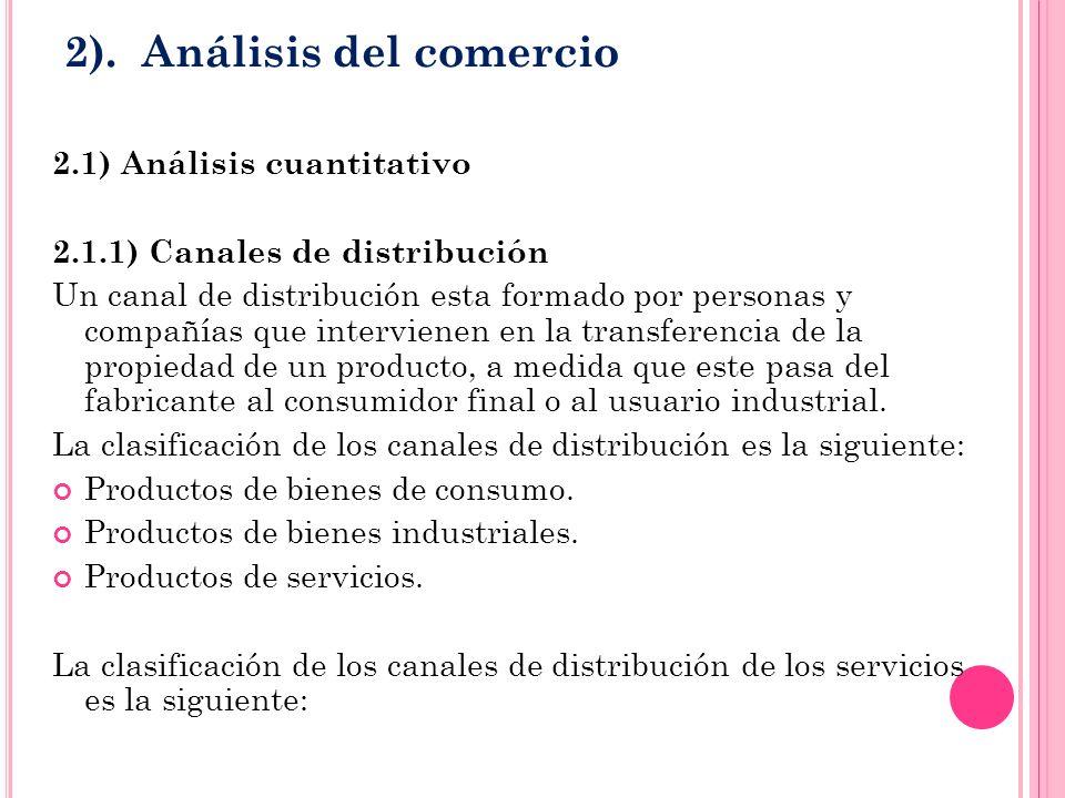 2). Análisis del comercio 2.1) Análisis cuantitativo 2.1.1) Canales de distribución Un canal de distribución esta formado por personas y compañías que
