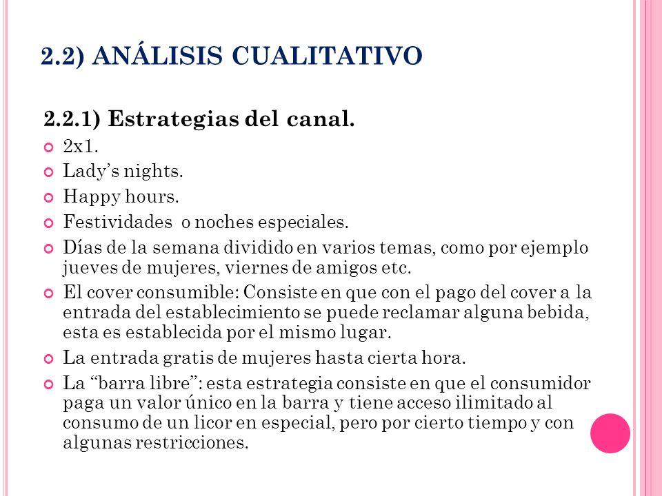 2.2) ANÁLISIS CUALITATIVO 2.2.1) Estrategias del canal. 2x1. Ladys nights. Happy hours. Festividades o noches especiales. Días de la semana dividido e