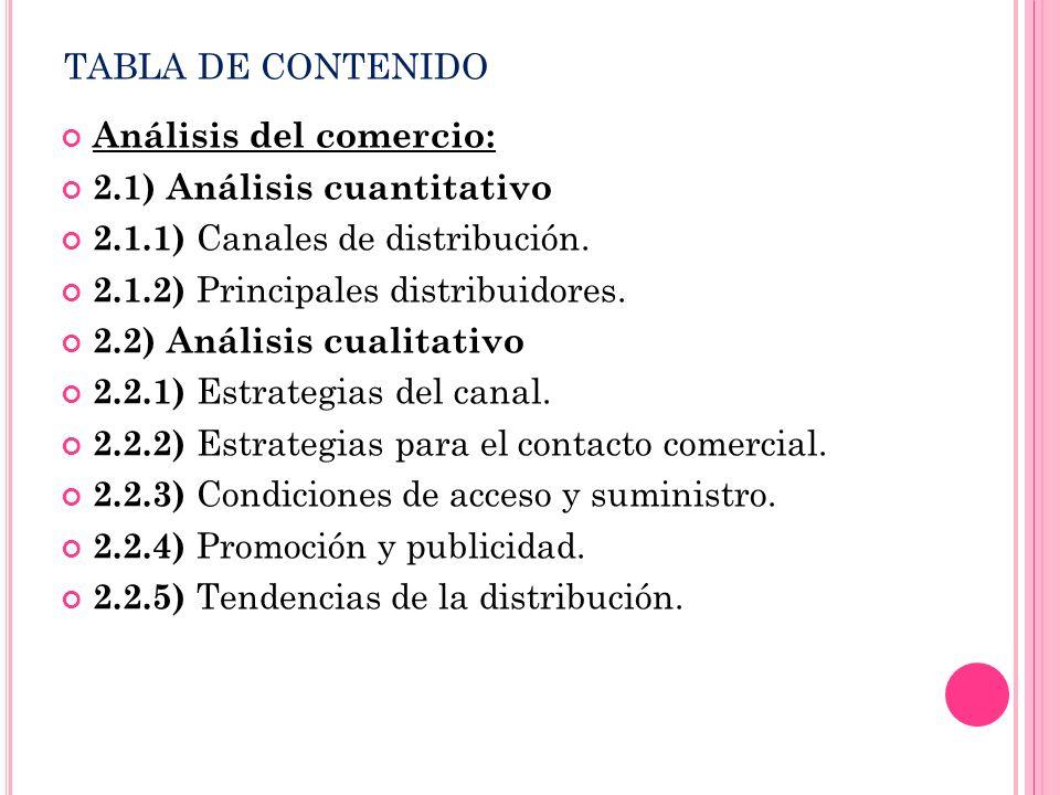 TABLA DE CONTENIDO Análisis del comercio: 2.1) Análisis cuantitativo 2.1.1) Canales de distribución. 2.1.2) Principales distribuidores. 2.2) Análisis