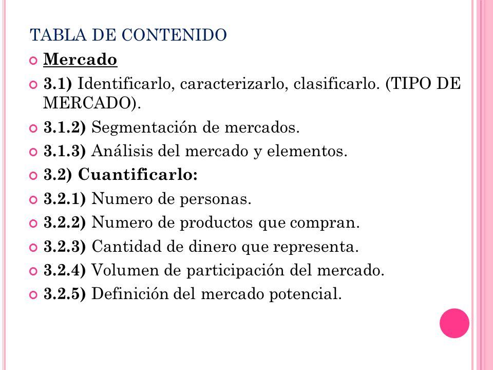 TABLA DE CONTENIDO Mercado 3.1) Identificarlo, caracterizarlo, clasificarlo. (TIPO DE MERCADO). 3.1.2) Segmentación de mercados. 3.1.3) Análisis del m