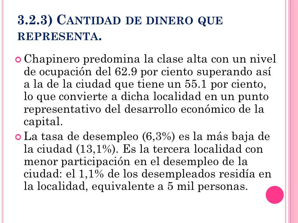 3.2.3) C ANTIDAD DE DINERO QUE REPRESENTA. Chapinero predomina la clase alta con un nivel de ocupación del 62.9 por ciento superando así a la de la ci