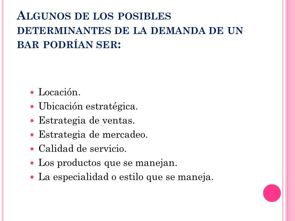 A LGUNOS DE LOS POSIBLES DETERMINANTES DE LA DEMANDA DE UN BAR PODRÍAN SER : Locación. Ubicación estratégica. Estrategia de ventas. Estrategia de merc
