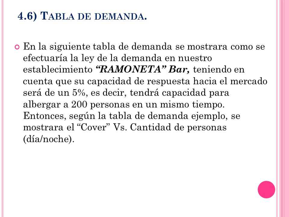 4.6) T ABLA DE DEMANDA. En la siguiente tabla de demanda se mostrara como se efectuaría la ley de la demanda en nuestro establecimiento RAMONETA Bar,