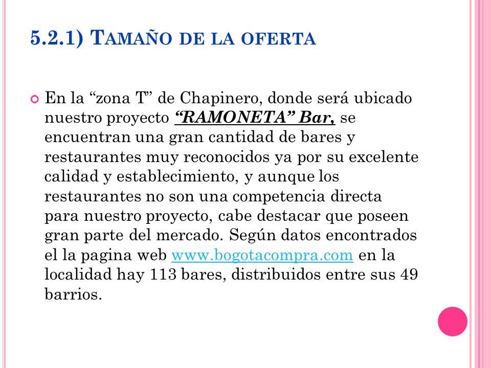 5.2.1) T AMAÑO DE LA OFERTA En la zona T de Chapinero, donde será ubicado nuestro proyecto RAMONETA Bar, se encuentran una gran cantidad de bares y re