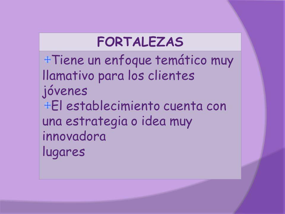 FORTALEZAS Tiene un enfoque temático muy llamativo para los clientes jóvenes El establecimiento cuenta con una estrategia o idea muy innovadora lugare