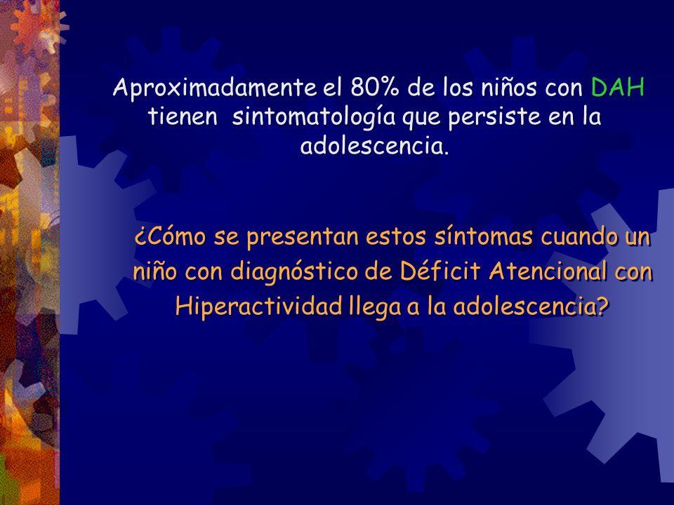 Aproximadamente el 80% de los niños con DAH tienen sintomatología que persiste en la adolescencia. ¿Cómo se presentan estos síntomas cuando un niño co