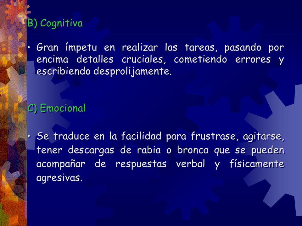 B) Cognitiva Gran ímpetu en realizar las tareas, pasando por encima detalles cruciales, cometiendo errores y escribiendo desprolijamente. C) Emocional