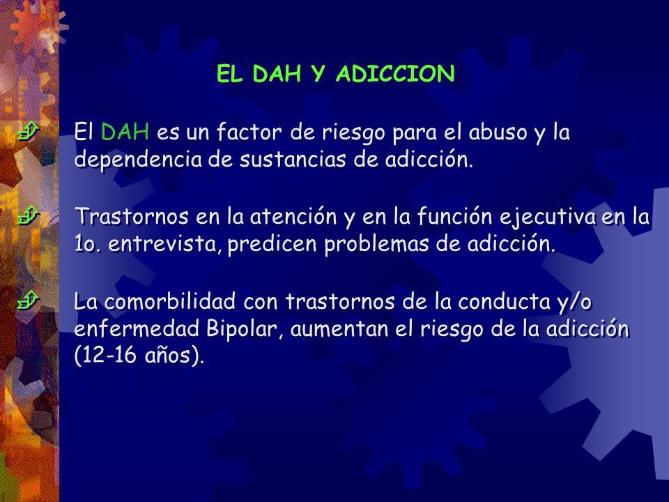 EL DAH Y ADICCION El DAH es un factor de riesgo para el abuso y la dependencia de sustancias de adicción. Trastornos en la atención y en la función ej