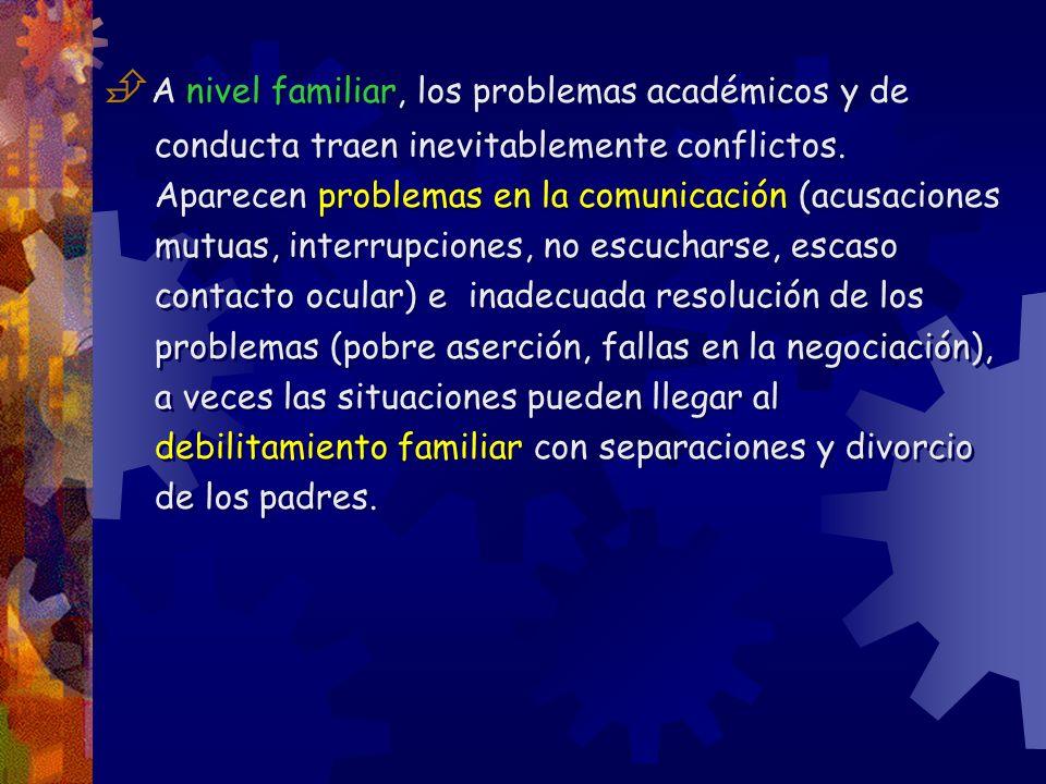 A nivel familiar, los problemas académicos y de conducta traen inevitablemente conflictos. Aparecen problemas en la comunicación (acusaciones mutuas,