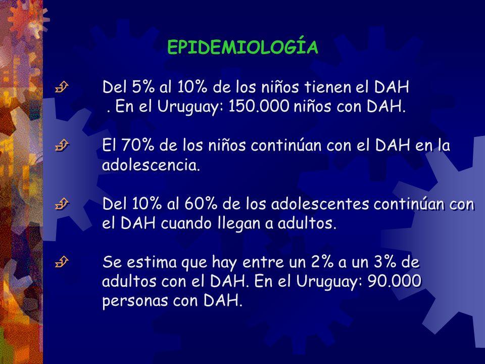 EPIDEMIOLOGÍA Del 5% al 10% de los niños tienen el DAH. En el Uruguay: 150.000 niños con DAH. El 70% de los niños continúan con el DAH en la adolescen