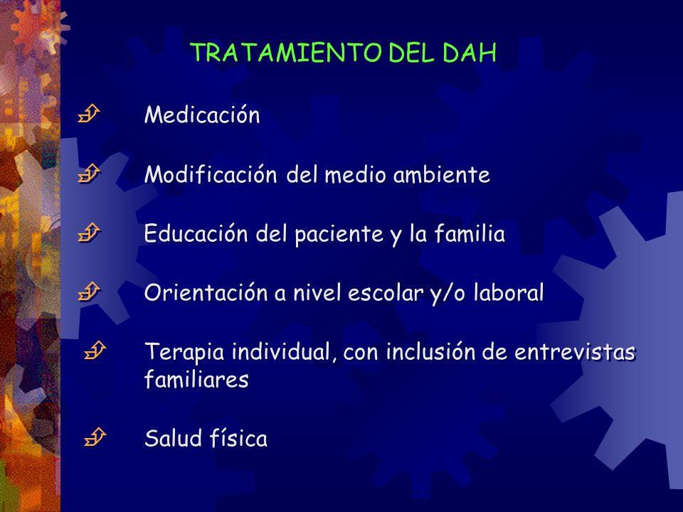 TRATAMIENTO DEL DAH Medicación Modificación del medio ambiente Educación del paciente y la familia Orientación a nivel escolar y/o laboral Terapia ind