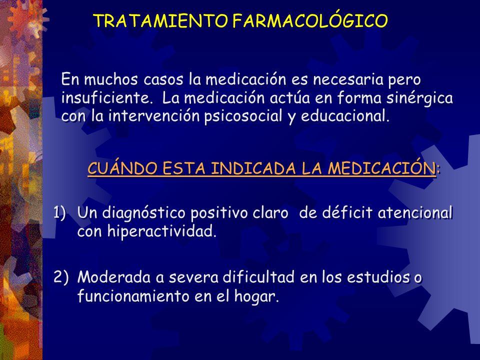 TRATAMIENTO FARMACOLÓGICO En muchos casos la medicación es necesaria pero insuficiente. La medicación actúa en forma sinérgica con la intervención psi