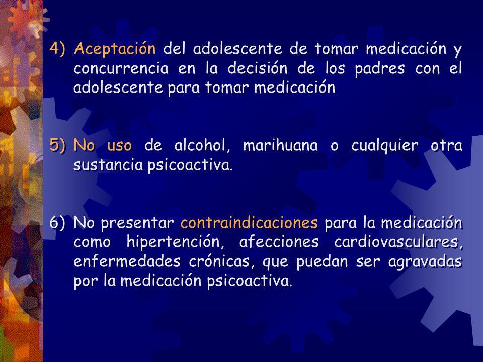 4)Aceptación del adolescente de tomar medicación y concurrencia en la decisión de los padres con el adolescente para tomar medicación 5)No uso de alco