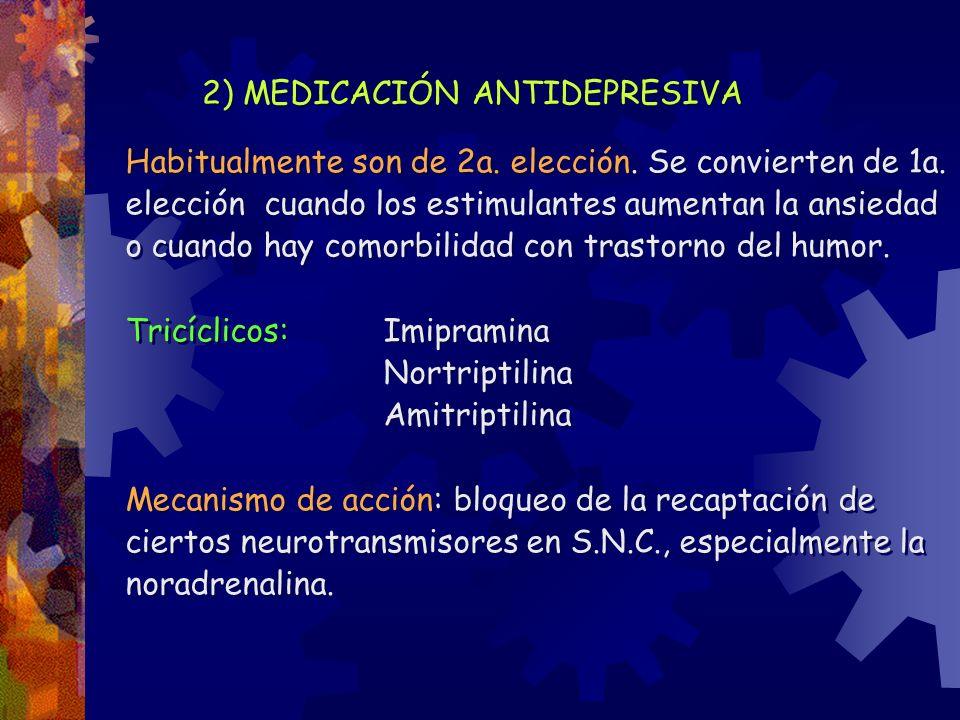 2) MEDICACIÓN ANTIDEPRESIVA Habitualmente son de 2a. elección. Se convierten de 1a. elección cuando los estimulantes aumentan la ansiedad o cuando hay