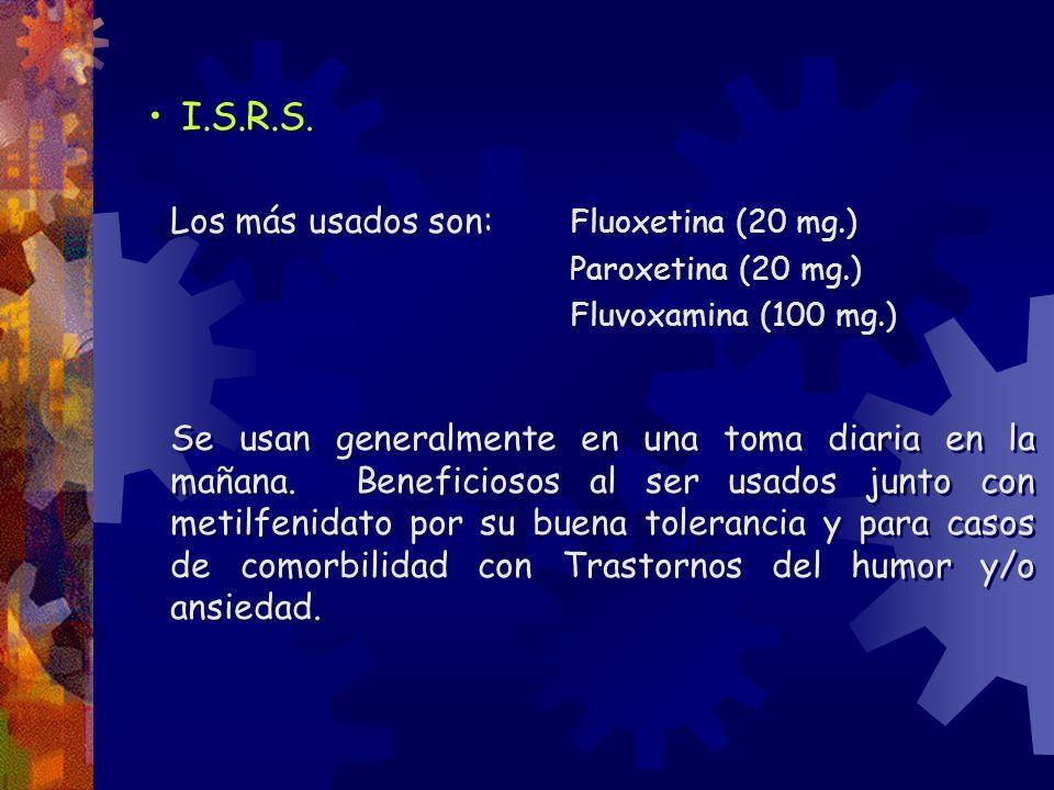 I.S.R.S. Los más usados son: Fluoxetina (20 mg.) Paroxetina (20 mg.) Fluvoxamina (100 mg.) Se usan generalmente en una toma diaria en la mañana. Benef