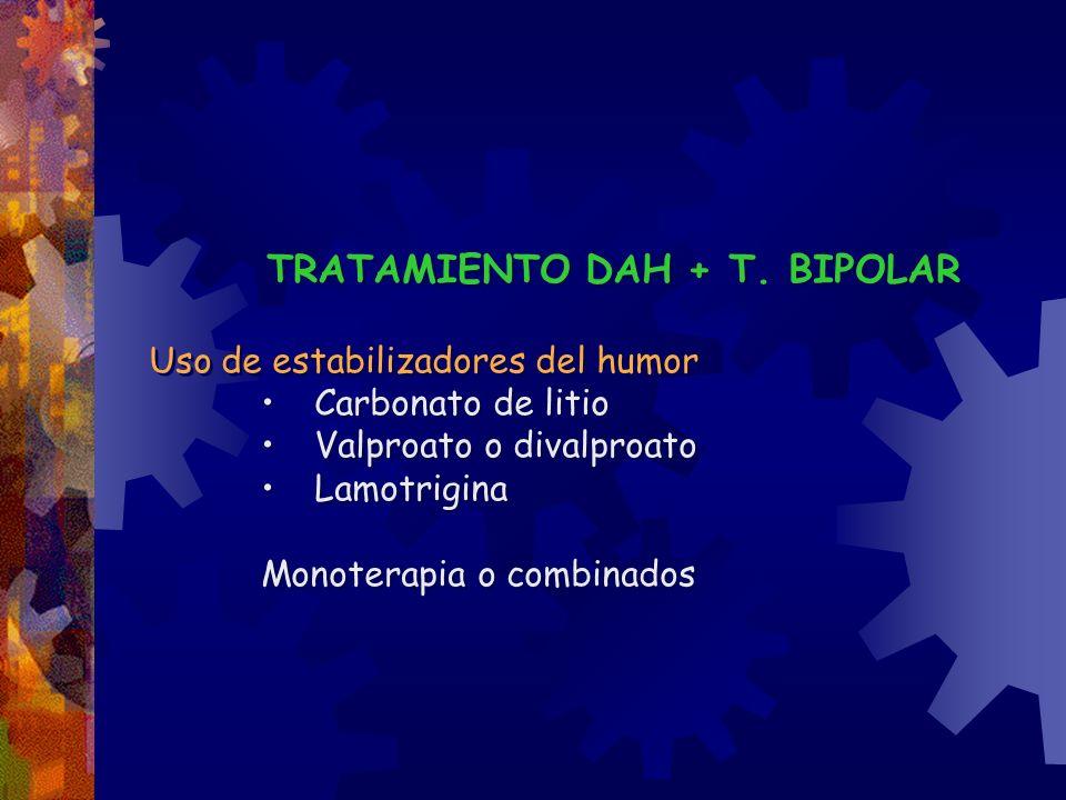 TRATAMIENTO DAH + T. BIPOLAR Uso de estabilizadores del humor Carbonato de litio Valproato o divalproato Lamotrigina Monoterapia o combinados TRATAMIE